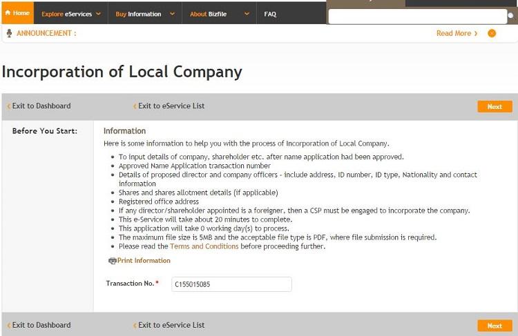 Bước 4: Thành lập công ty Singapore trên BizFile